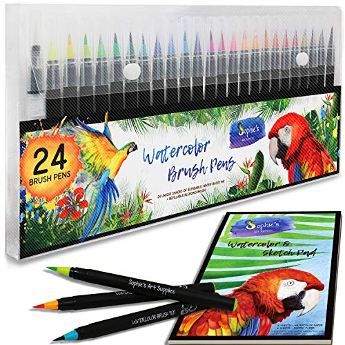 Premium Watercolor Real Brush Pens by Sophie's Art Supplies [24 Pack]. Vibrant Water Soluble Ink. Flexible Brush Tips for Watercolor Effects, Coloring and Calligraphy. Free Blending Brush + Pad!