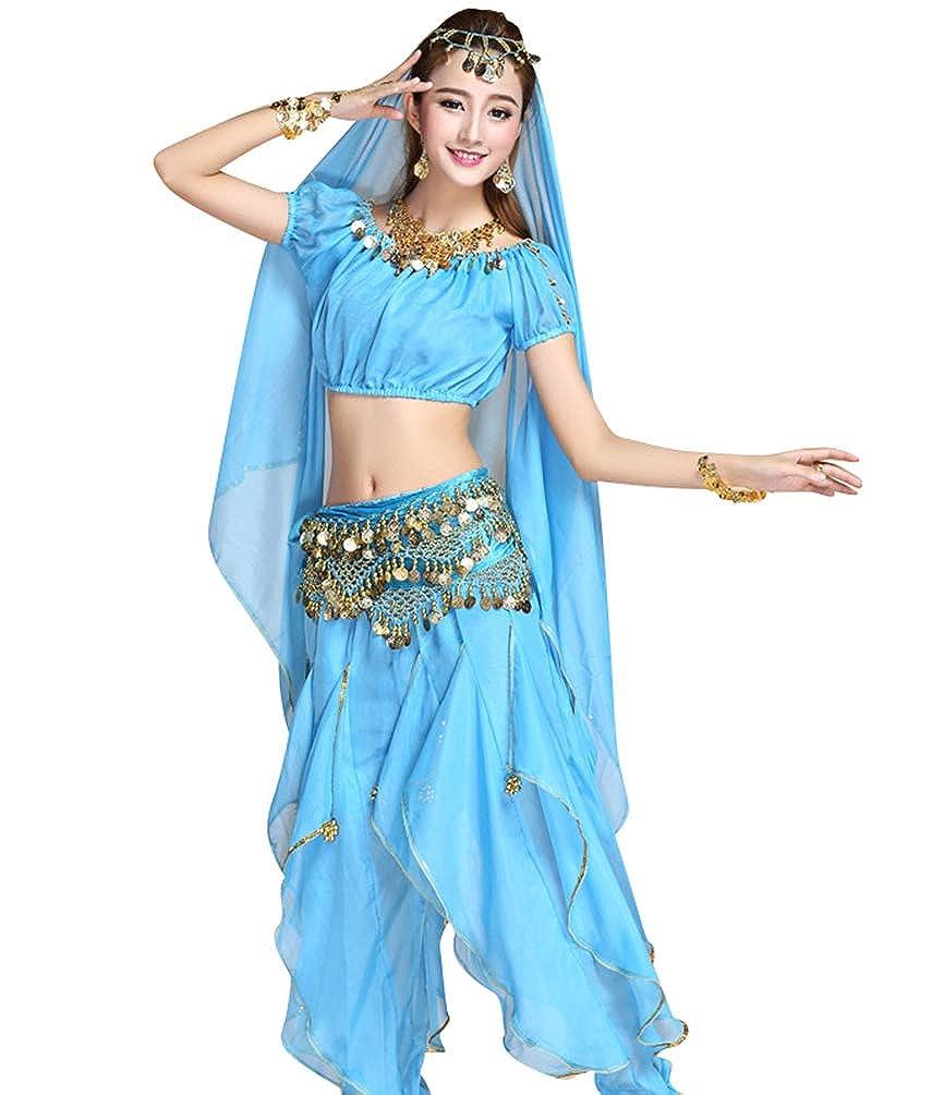 TianBin Donne Pantaloni di Arruffati Crop Tops Manica Corta Danza Del Ventre Costumi Set Monete Paillettes Taglia unica)