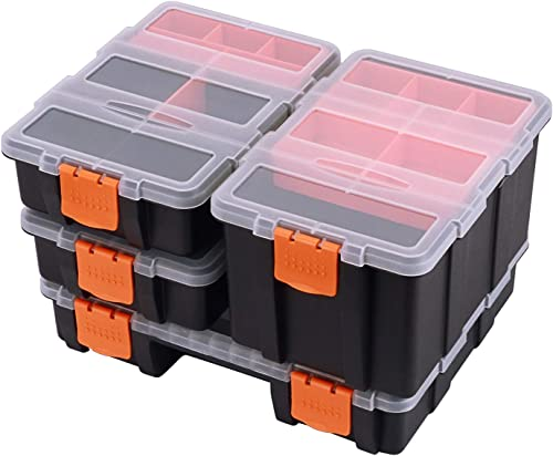 CASOMAN Hardware Parts Organizers, 4 Piece Set Toolbox, Compartment Small Parts Organizer, Versatile and Durable Storage Tool Box