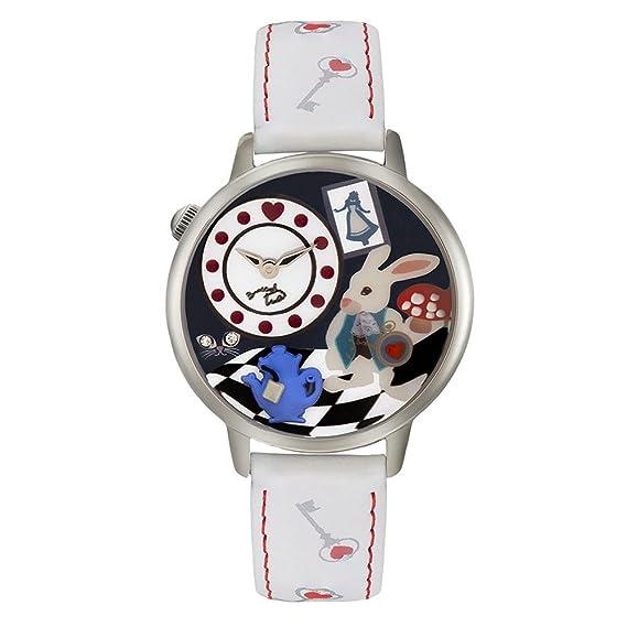 Reloj pulsera de mujer blanco con diseño de Alicia en el País de las Maravillas con esfera 3D Tua Cartoline 141/GB: Amazon.es: Relojes