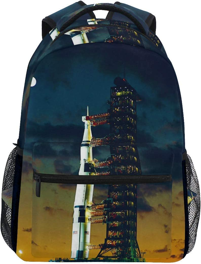 Shoulder Bag,Apollo Saturn Launch Complex Plate College School Book Bag Stationery Sports Backpack 40cm(H) x29cm(W)