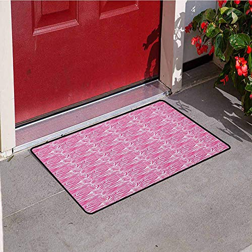 (Gloria Johnson Zebra Print Welcome Door mat Striped Zebra Animal Skin Pattern in Vivid Color Fun Stylish Artwork Print Door mat is odorless and Durable W15.7 x L23.6 Inch Pink Black)