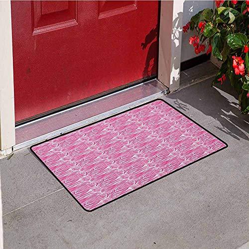 (GloriaJohnson Zebra Print Welcome Door mat Striped Zebra Animal Skin Pattern in Vivid Color Fun Stylish Artwork Print Door mat is odorless and Durable W15.7 x L23.6 Inch Pink Black)