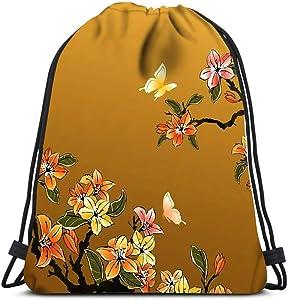 Drawstring Backpack Traditional Chinese Art Laundry Bag Gym Yoga Bag