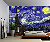 Picture Sensations Canvas Texture Wall Mural, Starry Night - Vincent van Gogh, Self-adhesive Vinyl Wallpaper, Peel & Stick Fabric Wall Decal - 96x66