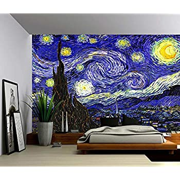 Marvelous Picture Sensations Canvas Texture Wall Mural, Starry Night   Vincent Van  Gogh, Self  Part 3