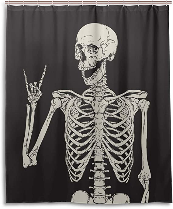 Rock And Roll Skull Skeleton Bone Love Music Shower Curtain Polyester Waterproof Sugar Candy Skull Day Of Dead On Black Backdrop Bath Room Shower Curtain With Hooks 60 W X 72 H Inches Kitchen Dining Amazon Com