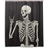 Rock And Roll Skull Skeleton Bone Love Music Shower Curtain Polyester Waterproof, Sugar Candy Skull Day Of Dead On Black…