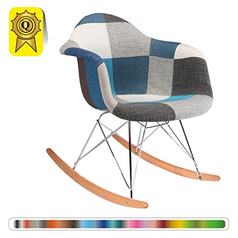 Decopresto Ventas 1 x Mecedora escandinavo Piernas :Madera Color Nogal Asiento: Azul Patchwork DP-RARL-PCB-1