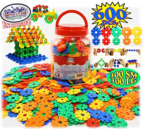 Mattys Toy Stop Deluxe Building Flakes/Discs 600 Pieces, Featuring 300 Small & 300 Large, Interlocking Building Set, Creative & Educational, Great STEM Toy, Includes Storage Bucket!