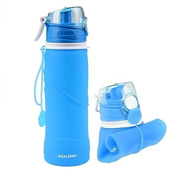 Idealeben Botella de Agua de Silicona - 750ml botella de deportes de agua plegable portátil con