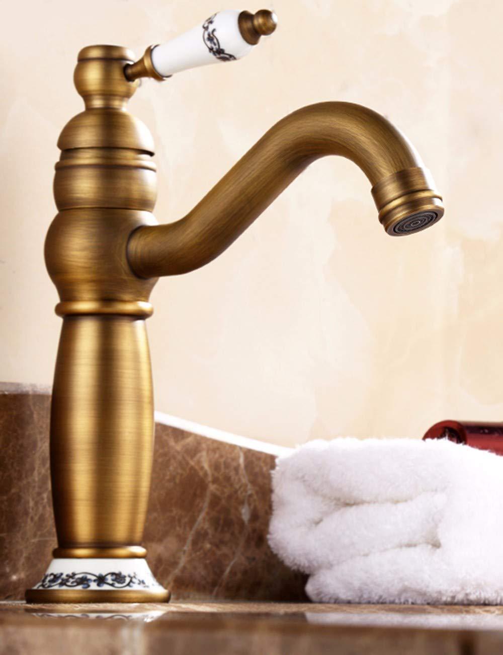 JingJingnet 流域ミキサータップ浴室のシンクの蛇口すべて銅ヨーロッパスタイルアンティーク真鍮蛇口チェックアンティークシングルハンドルシングルホール盆地の蛇口と冷水タップ (Color : B) B07S4LZ5V7 B
