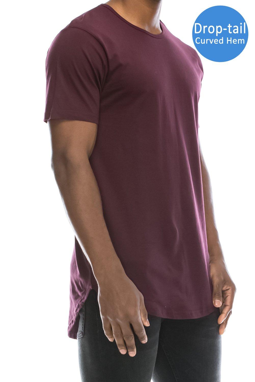 JC DISTRO Mens Hipster Hip Hop Cotton Elong Crewneck T-Shirt Wine Large