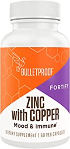 Bulletproof Zinc with Copper, Maintain Immune Function, Healthy Mood, Heart, and Hormone Balance (60 Capsules)