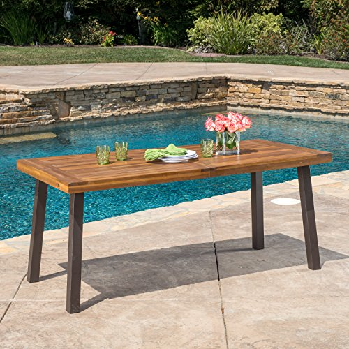 Bay Dining Table - Great Deal Furniture 298192 Spanish Bay Acacia Wood Outdoor Dining Table | Perfect for Patio | with Teak Finis, Brown