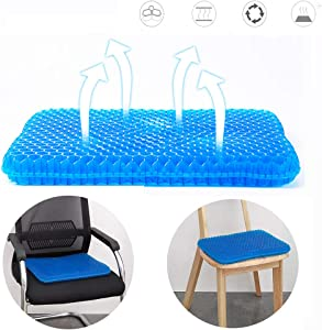 Office Chair Seat Cushion, Gel Seat Cushion Egg Seat Cushion Comfort Chair Pads with Non-Slip Cover for Home Car Wheelchair Office Chair Cushion for Relieving Back Pain & Sciatica Pain