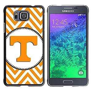 For Samsung GALAXY ALPHA G850 Case , Letter Initial Chevron Yellow White - Diseño Patrón Teléfono Caso Cubierta Case Bumper Duro Protección Case Cover Funda