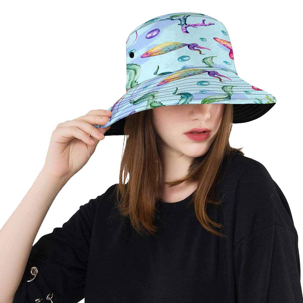 INTERESTPRINT Bucket Hat Boonie Sun Hats Seamless Marine Pattern Jellyfish