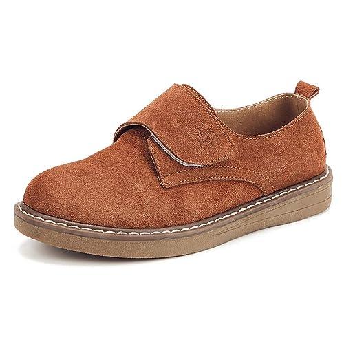 Mocasines Mocasines Zapatos De Cuero De Gamuza Gancho Bucle Pisos De Costura Punta Redonda Damas Casual Calzado Plano: Amazon.es: Zapatos y complementos