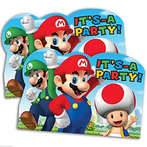 Amscan Party Supplies 491554 Super Mario Brothers Postcard Invitations, Party Favor, 48 Ct, Multicolor (Mario Invites)