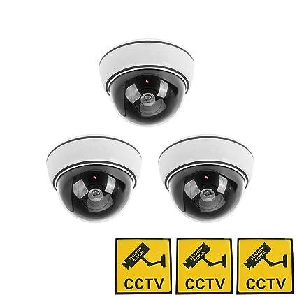 Phot-R 3x exterior imitacion falsa cubierta LED rojo CCTV de la boveda del centelleo