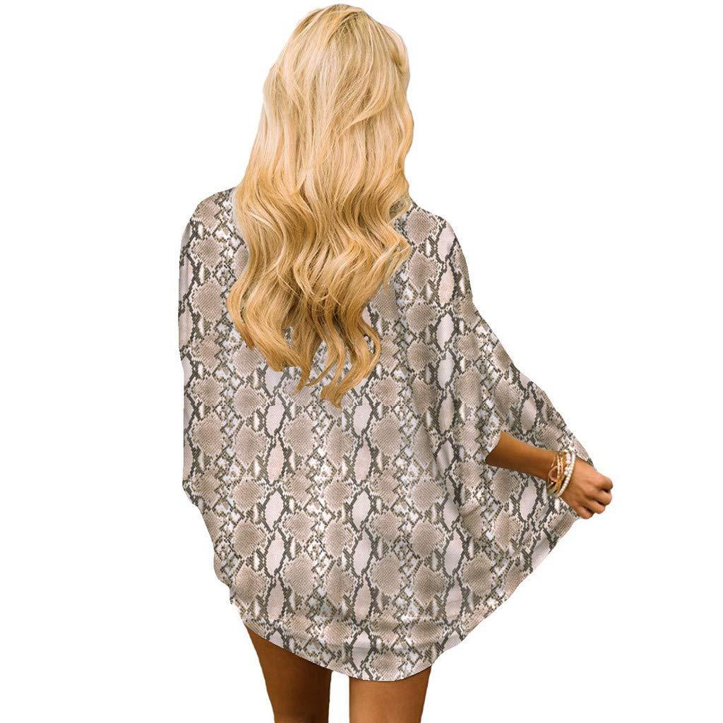 Womens Chiffon Floral Print Kimono Half Sleeve Shawl Cardigan Cover Up Blouse