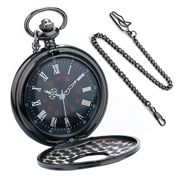 753442111e1dd7 BestFire Orologio da tasca Nero romano Retro orologio da tasca al quarzo  d'epoca Numeri