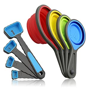 Measuring Cups and Spoons, Collapsible Silicone Measuring Cups and Spoons set, 8 piece Measuring Tool Engraved Metric/US Markings for Liquid & Dry Measuring, Space Saving, BPA Free Silicone, Colorful