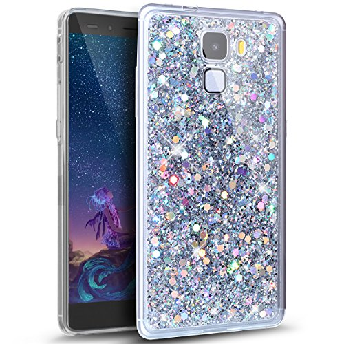Price comparison product image Huawei Honor 7 Case,Huawei Honor 7 Glitter Case,ikasus Luxury Sparkle 3D Bling Diamond Glitter Paillette Flexible Soft Rubber Gel TPU Protective Bumper Silicone Case Cover for Huawei Honor 7,