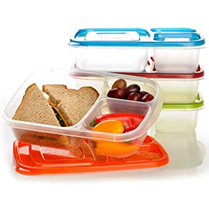 "EasyLunchboxes 3-compartment Bento Lunch Box Containers ""Classic"" (Set of 4). BPA-free. Easy-open Lids (Not Leakproof). For Kids and Adults. Work or School Lunches"