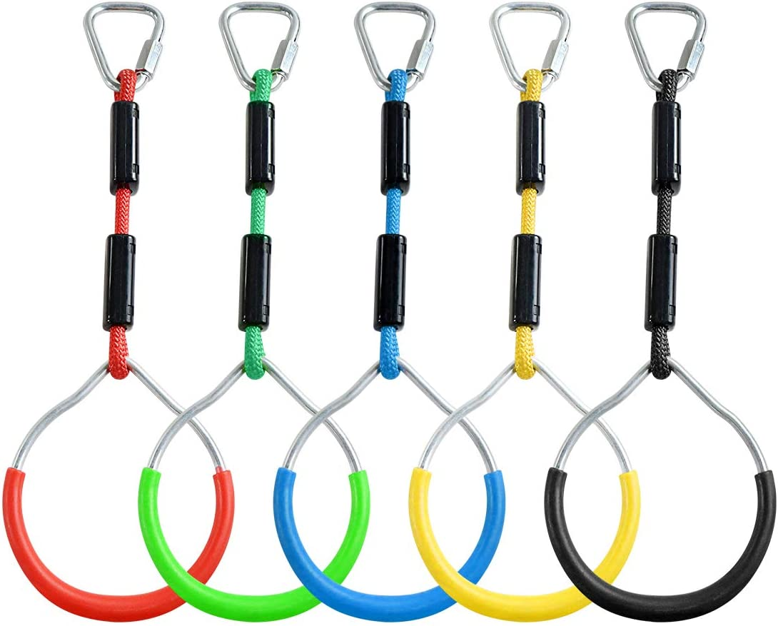ZNCMRR Colorful Swing Gymnastic Bar Rings, Outdoor Backyard Play Sets & Playground Equipment for Ninja Line, Monkey Ring, Climbing Ring, Obstacle Ring, 5 Pack