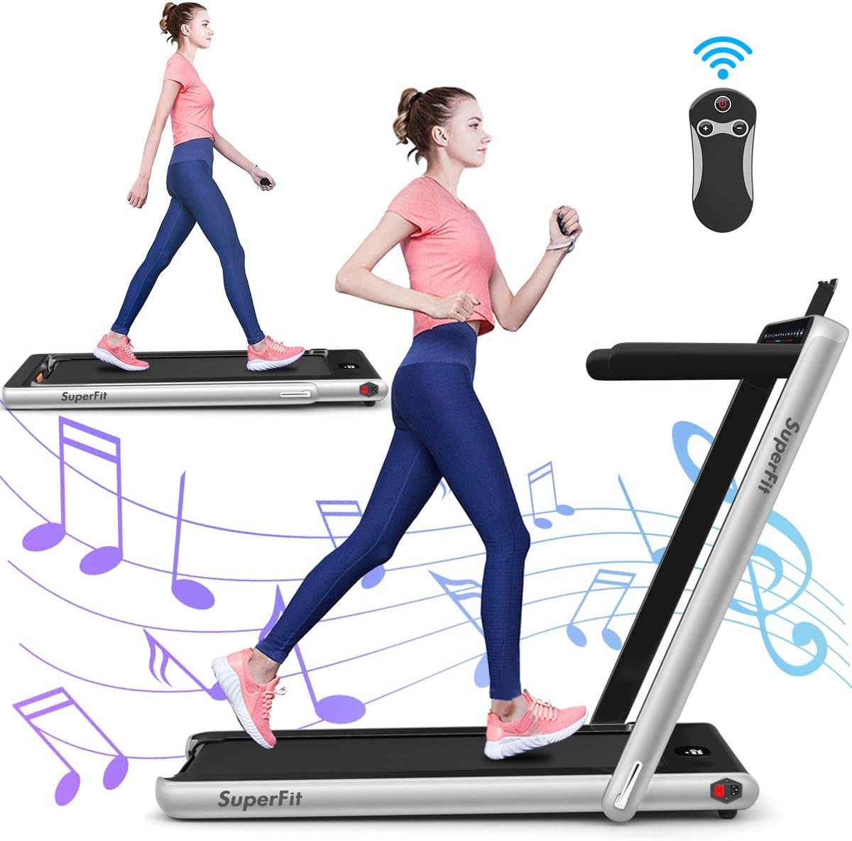 GYMAX 2 in 1 Under Desk Treadmill, 2.25HP Folding Walking Jogging Machine with Dual Display, Bluetooth Speaker Remote Controller, Electric Motorized Treadmill for Home Gym