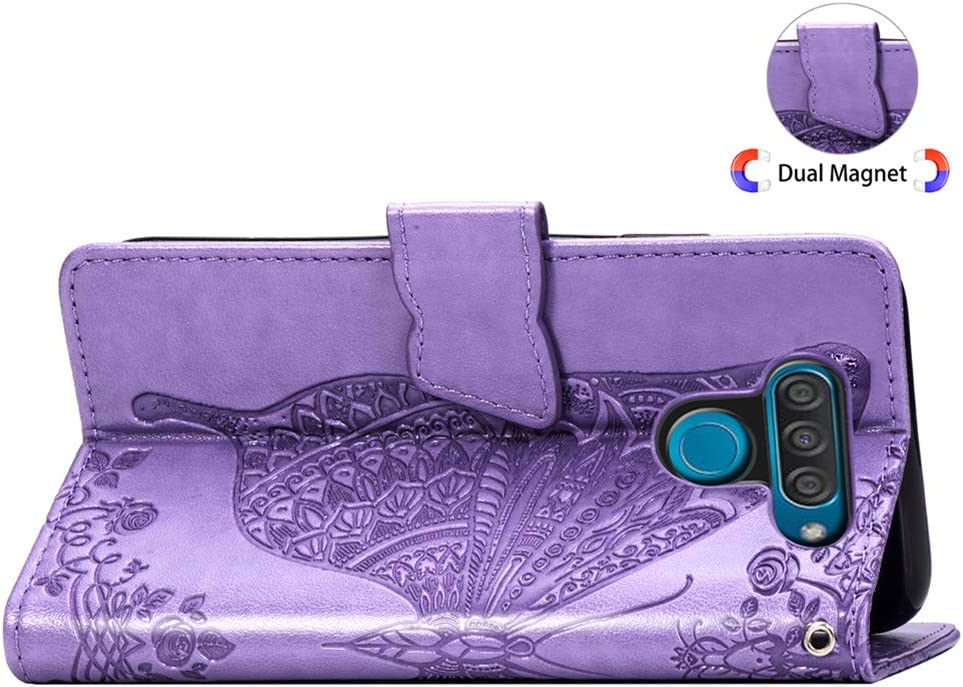 HMTECHUS LG Q60 case Elegant Embossed Flower Card Slots Bookstyle Wallet PU Leather Durable Magnetic Closure Flip Kickstand Full Protection Shockproof Cover for LG Q60 Butterfly Light Purple SD