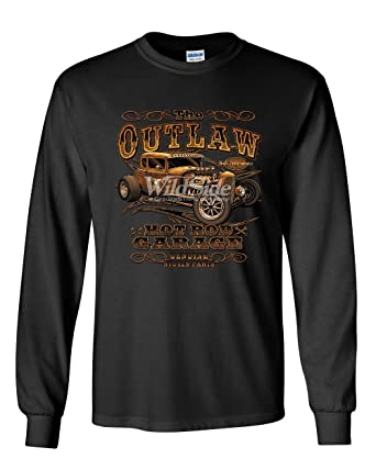 22e37612 The Outlaw Hot Rod Garage Long Sleeve T-Shirt Performance American Muscle  Tee Black S