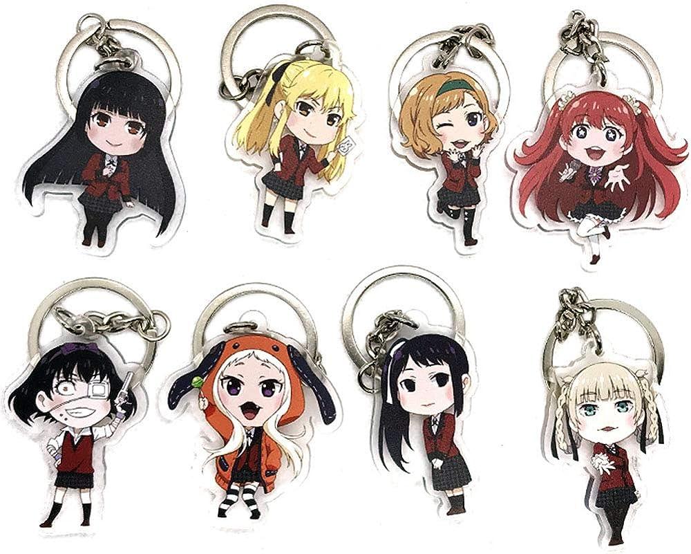 Gankchen 8 Roles Kakegurui Keychains Set Jabami Yumeko Cosplay Acryli Keychains