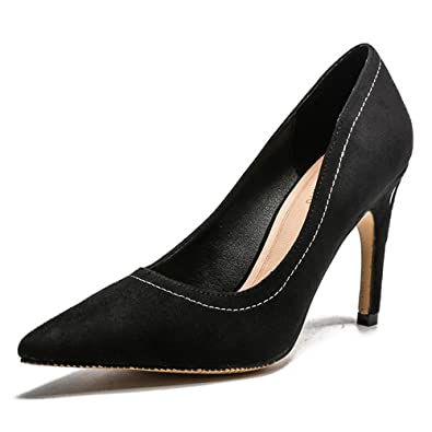 1ee2f9bec649 Suede Stilettos Women s Pointed Toe high Heels Professional Shoes(Black  36 5 B(