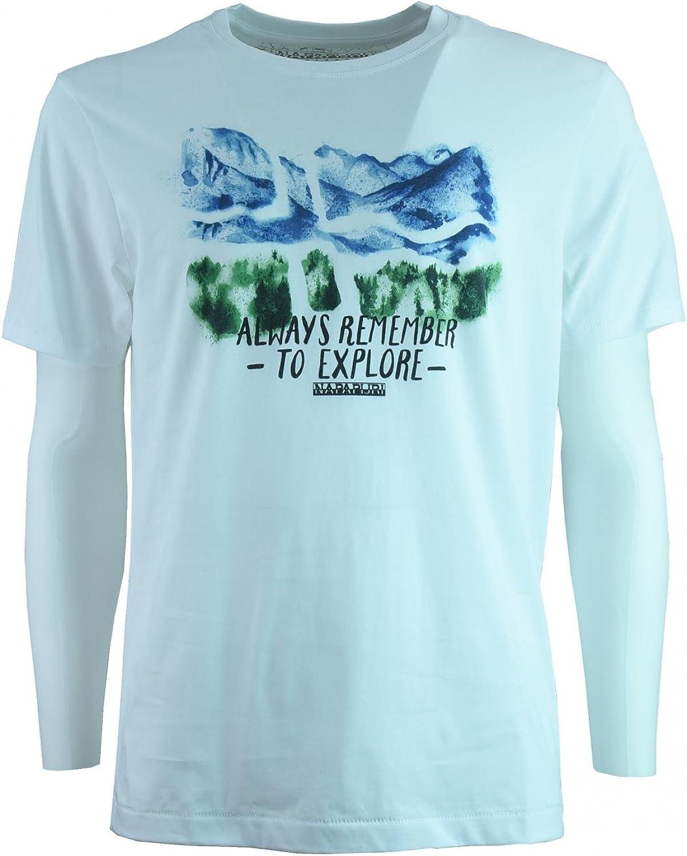 Napapijri hombres de la camiseta de manga corta N0YHCNL14 SOYO FANTASÍA L Bianco stampa: Amazon.es: Ropa y accesorios