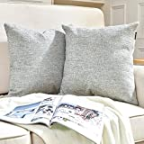 Hey Tang Pack of 2, Chenile Velvet Soft Soild Decorative Square Throw Pillow Covers Set Cushion Case for Sofa Bedroom Car 18 x 18 Inch 45 x 45 Cm,Gray