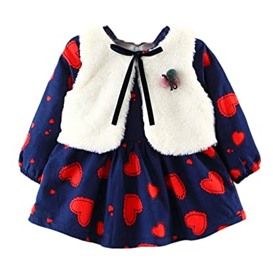 f5b15d2113ad Baby Girl Winter Long Sleeve Mini Dresses+ Fur Waistcoat Outfits Set ...