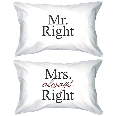 Cuscini Mr Right Mrs Always Right.Lui E Lei Federe 220 Fili Motivo Mr Right Mrs Always Right E