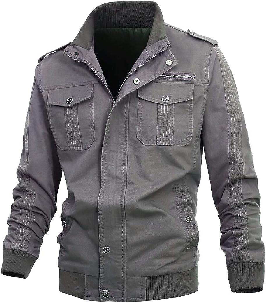 Buytop Mens Casual Long Sleeve Winter Cotton Military Jackets Outdoor Coat Windproof Windbreaker with Shoulder
