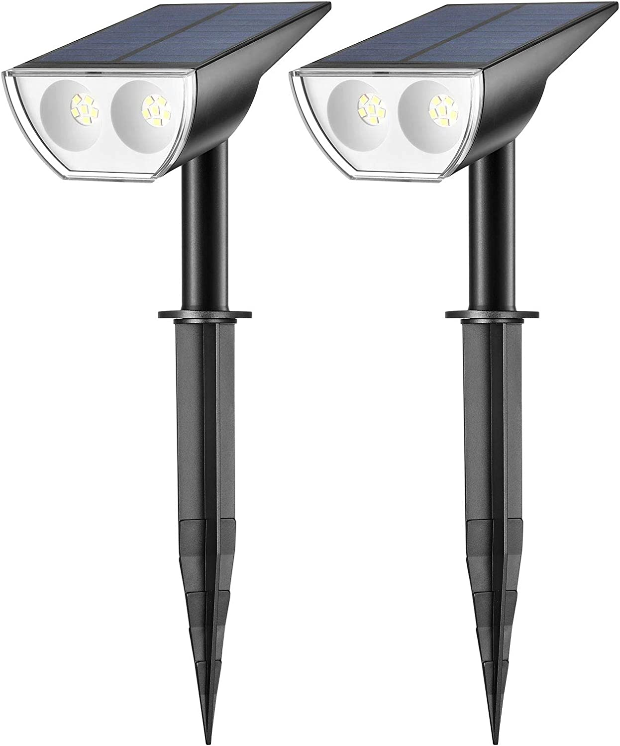 Consciot OC-GL-035B 12 LED Outdoor Compact Dusk-to-Dawn Solar Powered Landscape Spotlights, IP67 Waterproof 2-in-1 Decorative Lighting for Garden, Pathway, Patio, 2 Pack, Cool White