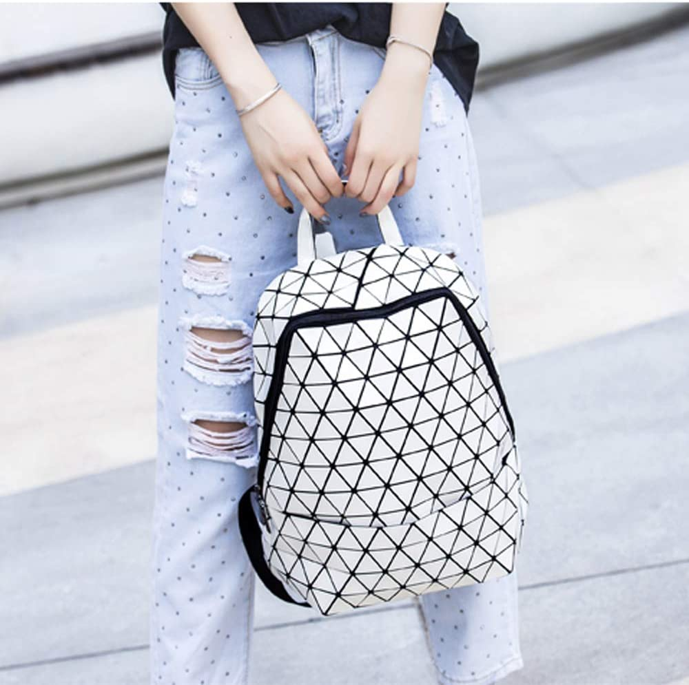 Fashion Backpack Geometric Lingge Glossy Luminous Round Triangle Backpack Womens Bag Large Capacity College Bag,Blue