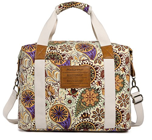 - Malirona Ladies Women Canvas Travel Weekender Overnight Carry-on Shoulder Duffel Tote Bag Bohemian Flower (Yellow Flower)