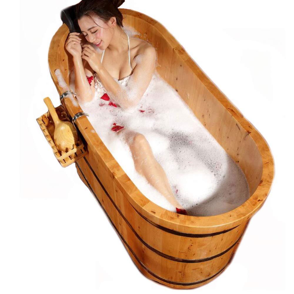 ZXDFG Cedar Wood Bathtub Adult Bath Pots Suitable for Families and Hotels, 1300800mm