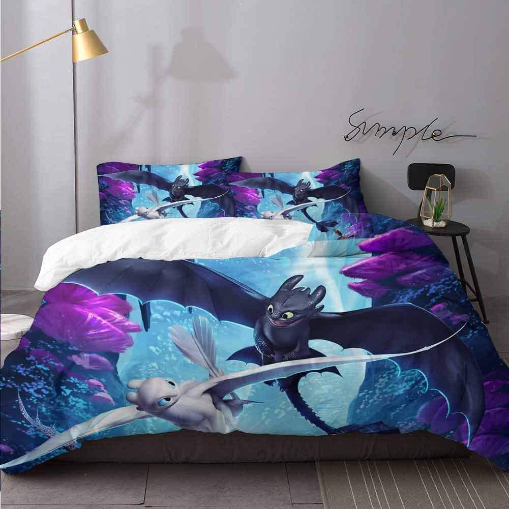 Duvet Cover Set Hiccup How to Train Your Dragon The Hidden World Night Fury and Light Fury Y Print Bedding Set with Double Zipper Closure Bedding 3 Piece Duvet Cover Set Queen