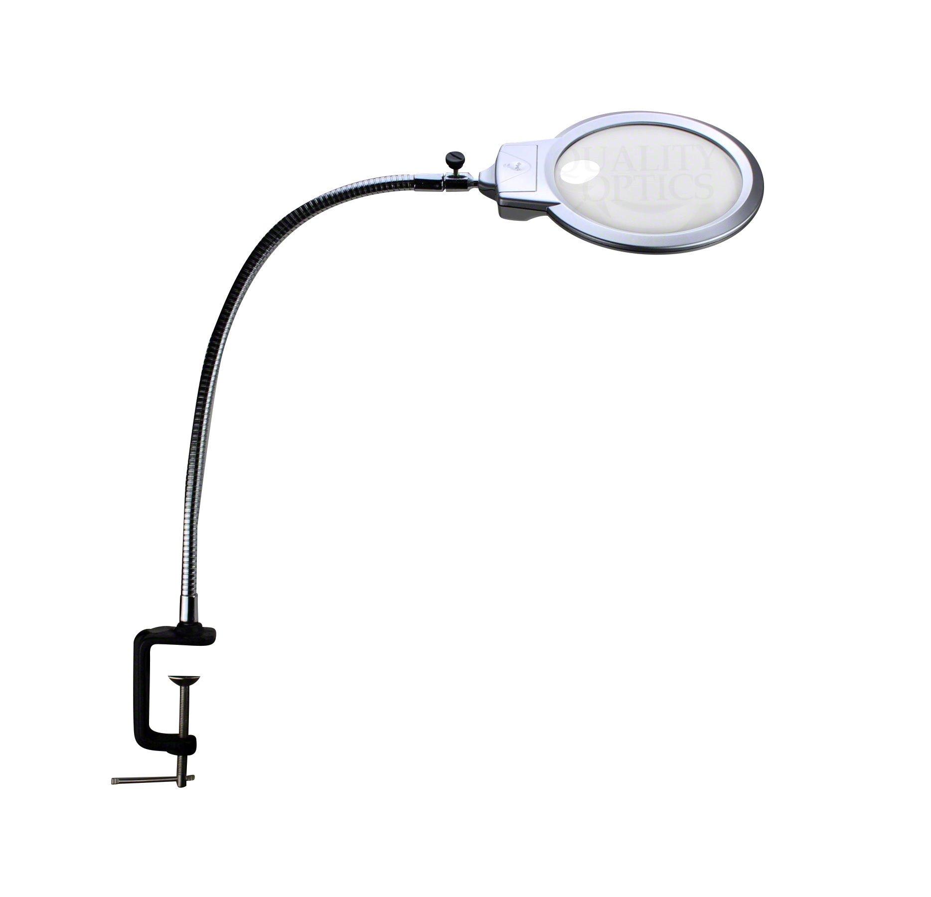 Quality Optics Illuminated Desk Mount Magnifying Glass Magnifier Led Light USA XL Metal Clamp