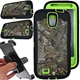 For Samsung galaxy S4 Case, Vodico Rugged Heavy Duty Shockproof Dirtproof Hybrid Full Body Protective Case with Belt Clip and Built-in Screen Protector for Samsung galaxy S4 - Forest Green