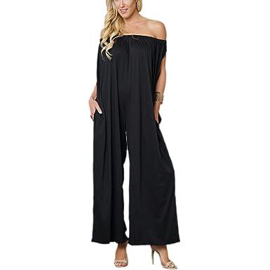 b848dd59373 Gfsoediden Off The Shoulder Sleeveless Wide Leg Pant Jumpsuit Plus Size  Women Long Rompers (Color