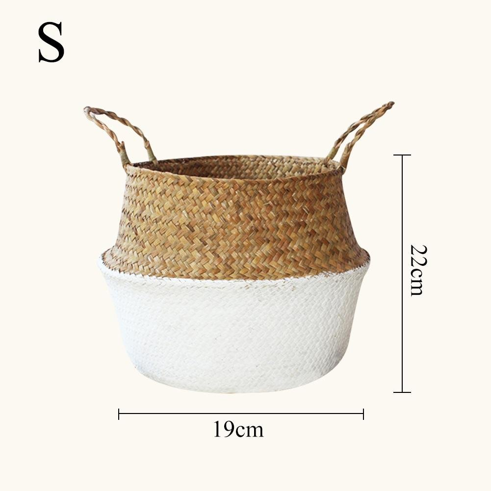 Kbsin212 Natural Seagrass Belly Basket Nordic Style Hand-Woven Foldable Storage Basket with Handle,Basket Toy Storage Basket Wovening Laundry Basket